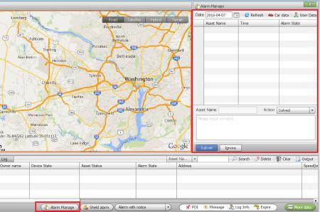 gps tracking software alarm manage
