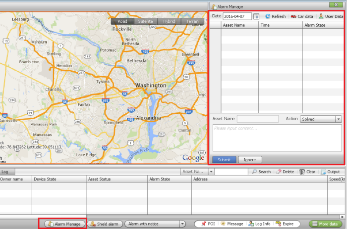 gps tracking software alarm manage